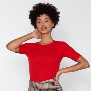 NWT Red Ribbed T Shirt Tee Nasty Gal Brave Soul